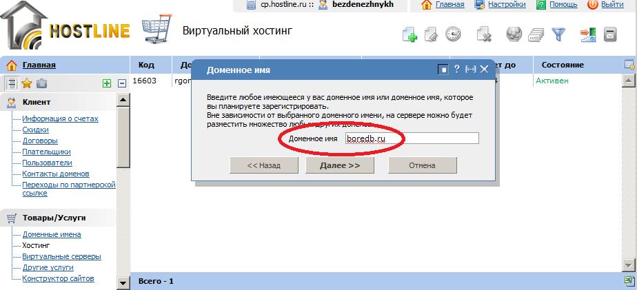Hostline.ru панель управления доменами